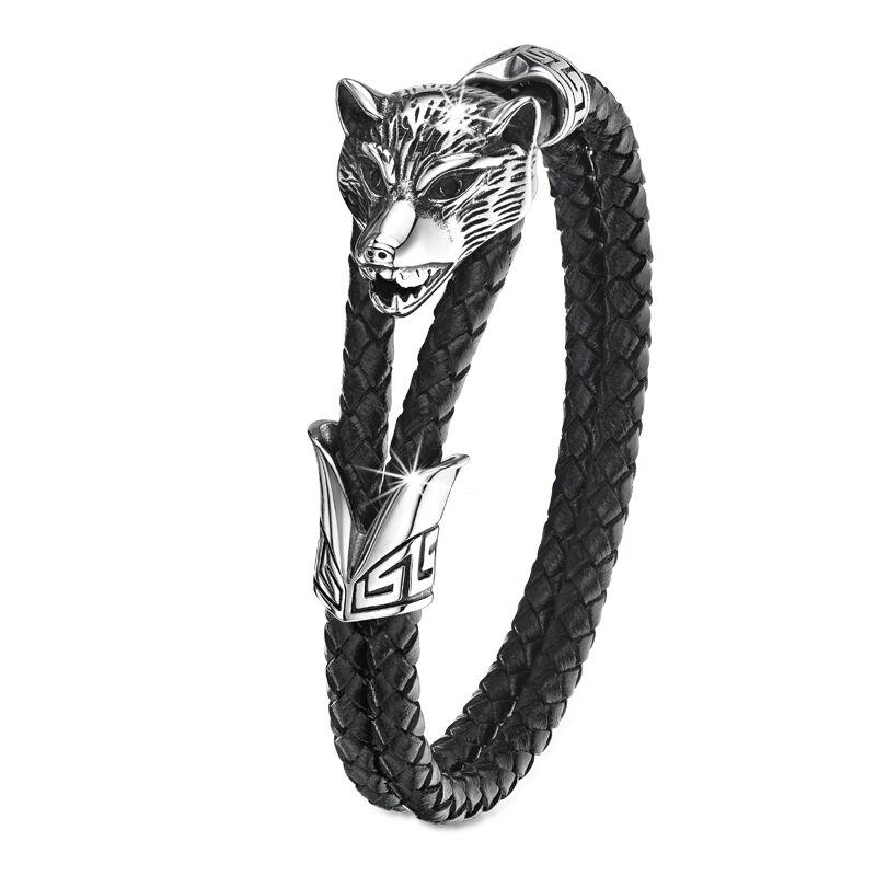 winter wolf leather bracelet UK WWLB2 b two