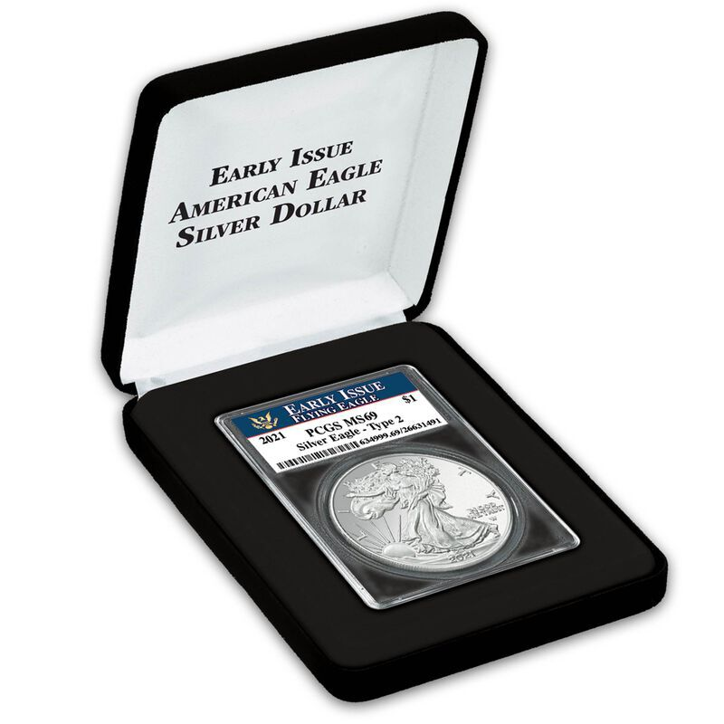 the 2021 first year flying american eagle silver dollar UK N21D d four