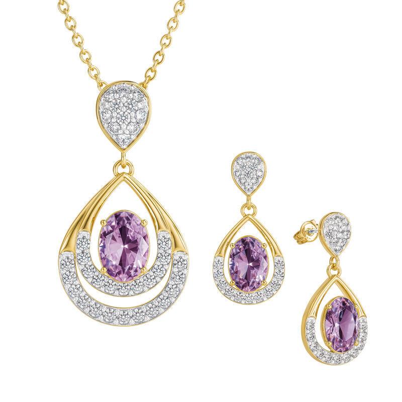 Birthstone Necklace Earring Set UK BSTDS f june