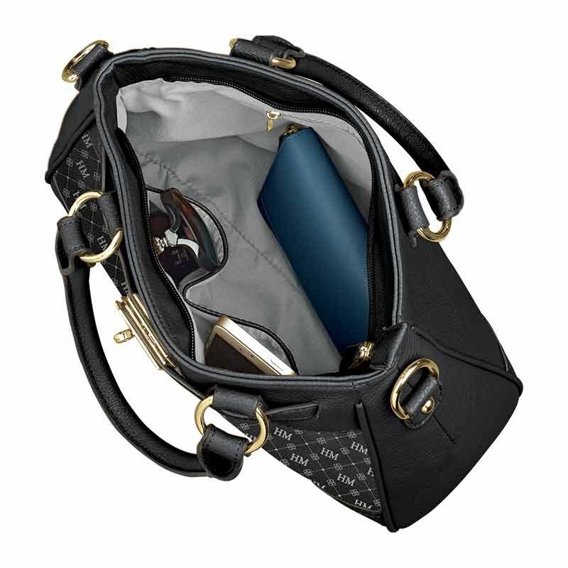 personalised initials black handbag UK IPBB c three