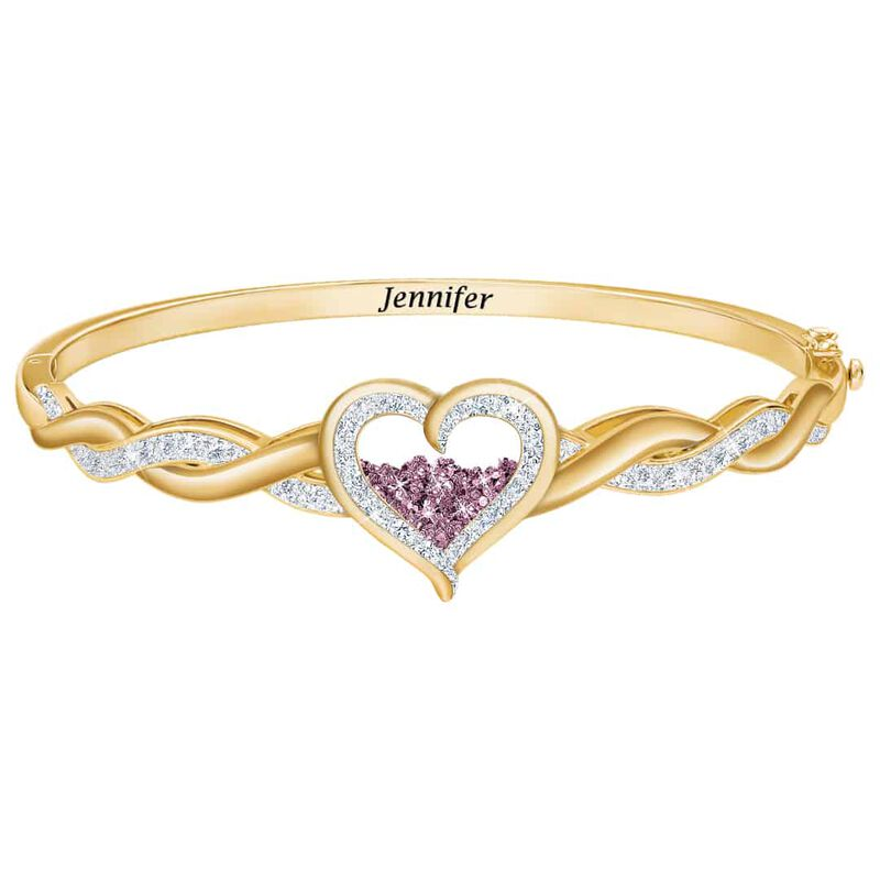 diamond birthstone personalised bangle UK DABPB a main