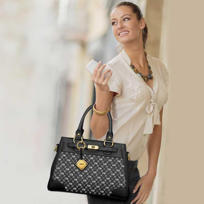 personalised initials black handbag UK IPBB e five