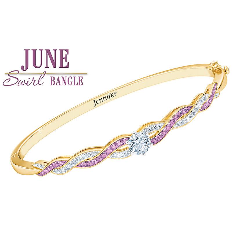 birthstone swirl personalised bangle UK BSWBA g seven