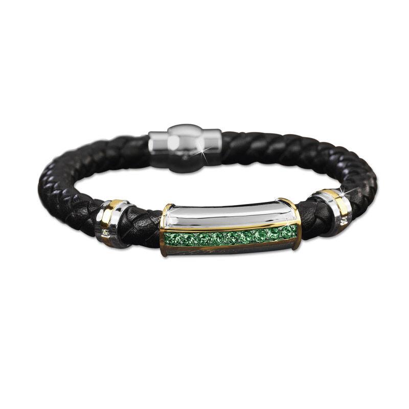 mens birthstone leather bracelet UK MBLBR2 e five